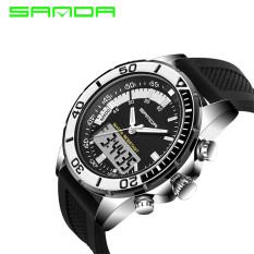 2016 Best Quality SANDA 003 Multifunctional Dual Time Display Sports Waterproof Electronic Watch (Silver)