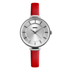 2016 High Quality SKMEI 1184 Women 'Ultra-thin Simple Casual Wristwatch Silver Shell (Red)