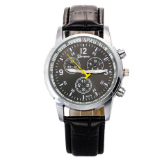 2016 New Fashion Watch Men Geneva Leather Strap Casual Wristwatch British Style Business Watch - Black