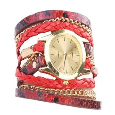 2016 New High Quality Fashion Casual Bracelet Wrist Watch Handmade (Red) - Intl