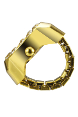 2016 Newest Creative Rehinestone Fashion Lady Girl Steel Round Elastic Quartz Finger Ring Watch Women (Intl)