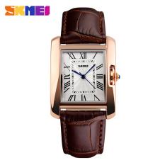 2016 Skmei Brand Elegant Retro Watches Women Fashion Luxury Quartz Watch Clock Female Casual Leather Women's Wristwatches (Brown)