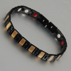 21.5 Cm Black And Gold Plated Stainless Steel Health Magnetic Bracelet For Men - Intl