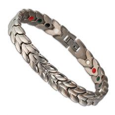 21 Cm Men Jewelry Silver Plated Germanium Titanium Bracelet Bangle Bio Magnetic Ion Chain Link Bracelet For Men - Intl