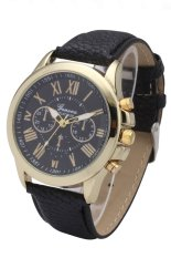 2697 Geneva Roman Number Leather New Fashion Minimalism Big Dial Clock Hours Quartz Wrist Watch (Black)
