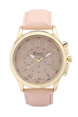 2697 Geneva Roman Number Leather New Fashion Minimalism Big Dial Clock Hours Quartz Wrist Watch (Light Blue) (Intl)