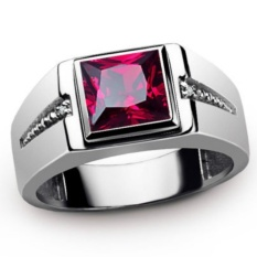 2.6ct New fashion Jewelry RUBY/ZIRCON STONE 18KT WHITE Gold Plated Wedding Ring Gift Size 7 To 15 #GR2188 - intl