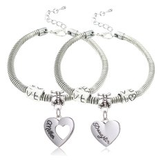 2pcs Family Jewelry Gift Mother And Daughter Double Love Heart Shape Charm Pendant Bracelet Silver Alloy (Intl)