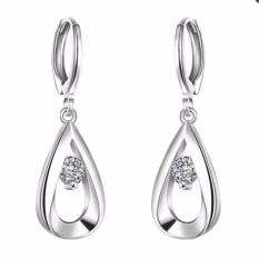 2pcs*Fashion Jewelry Silver Round Purple Zircon Stud Earrings - Intl