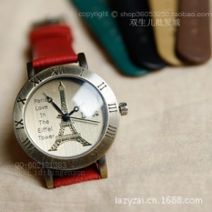 2pcs * Romance - Paris Eiffel Tower leather watch / Rome watch / wholesale / Vintage Lady Watchblack - intl