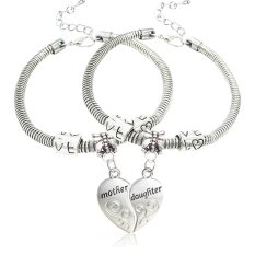 2pcs Silver Alloy Broken Heart Split Puzzl Mother And Daughter Charm Pendant Bracelet Gift For Family (Intl)