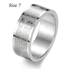 360DSC Cross Bible Titanium Plain Design Ring for Men GJ043 (Width 8mm) Silver-