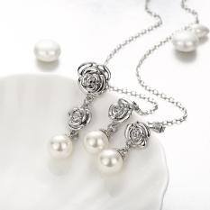 360DSC Fashion Platinum Plated Flowers and Imitation Pearl Necklace Earrings Women Fashion Jewelry 2Pcs Set AKS009