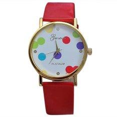360DSC Geneva Women's Colorful Dots Analog Quartz PU Leather Band Wrist Watch - Red