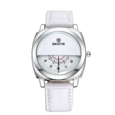 360DSC New Three Dials Lovers Watch Women's Quartz Movement Leather Band Wrist Watch 5017 - White