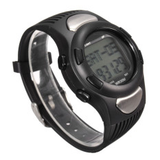 3D Pulse Heart Rate Monitor Pedometer Calorie Counter Fitness Sports Wrist Watch Black