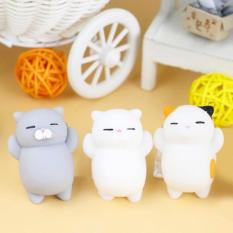 3pcs Hot Japanese Toys Mini Cat Mochi Squishy Squeeze Cat Kawaii Healing Toy Collect Fun Joke Gift Focus