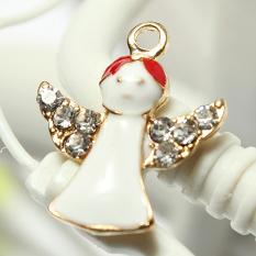 5pcs Gold Enamel Christmas Xmas Gifts Snowflake Charm Pendants Jewelry Findings Angel - Intl