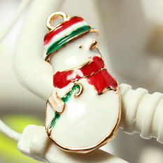 5pcs Gold Enamel Christmas Xmas Gifts Snowflake Charm Pendants Jewelry Findings Snowman - Intl