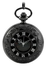 604353 Vintage Retro Face Dial Pocket Watch with Chain (Black / Silver)