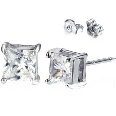 925 Sterling Silver Square Cut 5.0.6 Carat Cubic Zirconia Stud Earrings, A Pair