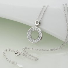 """925 Sterling Silver High Polish Circle Of Life Pendant Necklace With Swarovski Crystals 16""""-18"""""""