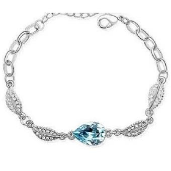 Acacia Leaves Crystal Bracelet 925 Sterling Silver / Gelang Wanita - Blue