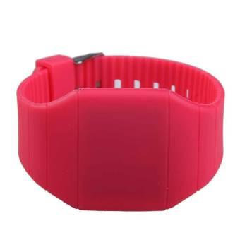 Adapula Digital Memimpin Jam Tangan Layar Sentuh Silikon Menyolok Universal Naik Merah .