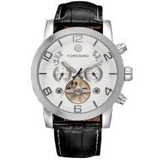 Aiweiyi 2016 New Forsining Relogio Masculino Men's Day / Moon / Year Auto Mechanical Tourbillion PU Leather Wristwatch Gift Box Free Ship