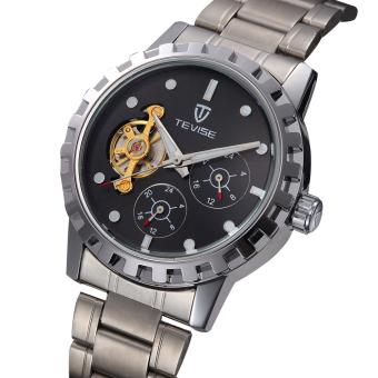 Akerfush TEVISE New Watch Belt Korean Fashion Watches Men's Watches, Mechanical Watches Belt (Black)