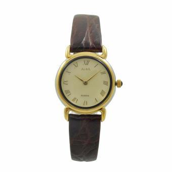 ALBA Jam Tangan Wanita - Brown Gold - Leather Strap - ATA88H