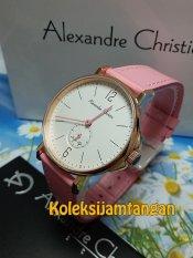 Alexandre Christie 8458 Rose Gold Pink - Jam Tangan Wanita - Tali Kulit - Rose Gold Pink