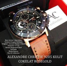 Alexandre Christie 9205 Rose Gold - Jam Tangan Pria - Tali Kulit - Hitam Rose Gold