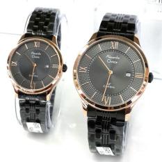 Alexandre Christie - Jam Tangan Couple - Stainless Steel - AC 8503 Black Gold Couple