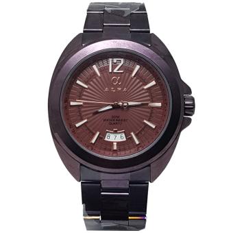 Alfa Watch Alf770 Jam Tangan Pria Strap Leather Hitam Tanggal Tulis Source Hitam .