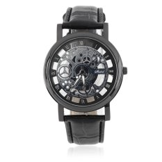 Allwin Cool Design Hollow Out Transparent Dial PU Leather Wrist Watch Gift New