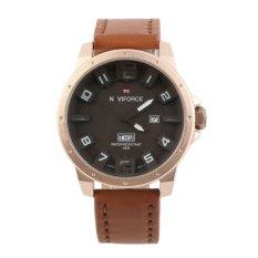 Allwin Men's Fashion Cool Watch Quartz Watch Digital Watches NAVIFORCE NF9061 Rose Gold Case + Brown Band + White Pointer (Intl)