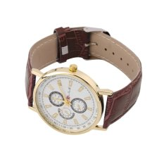 Allwin New Brand Hot Men's Fashionable Casual Watch Leather Wristwatch Coffee