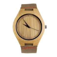 Allwin New Fashion Men's Watches Genuine Leather Band Bamboo Wood Wooden Watch (Red)