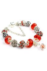 Amango Women Crown Crystal Beads Bangles Chic Red (Intl)