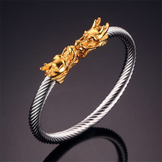 Ancient East Totem Dragon Shaped Elastic Adjustable Bracelet Twisted Cable Cuff Bangle Silver Gold Color - Intl