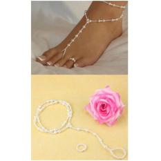 Anneui - JS0003 - Set Perhiasan Gelang Kaki Sambung Cincin Dengan Cincin Kaki (White)