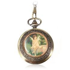 Antique Vintage Steampunk Bronze Quartz Pendant Chain Necklace Pocket Watch Gift (Intl)