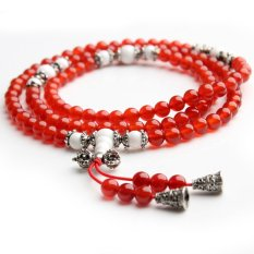 Aotian Natural Red Agate Beads Crystal Bracelet Lucky Transport More Than 108 Men and Women Ring Crystal Jewelry Free Shipping - Red + Black + Horn Section (Intl)