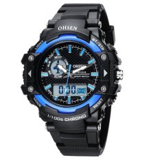 AOXINDA OHSEN Multi Function Jam Mens Military Watches DualTime Digital Analog Chronograph Sport Wrist Watch 50M Water Resistant Waterproof For Boy Girls Gift - Blue - Intl