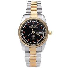 ARDOUR 2137 Men Quartz Watch Gold-plated Artificial Diamond Dial Calendar 3ATM Display Wristwatch