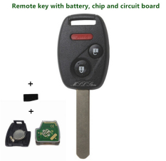 Audew 2003-2007 Remote Key With Chip ID4.433 MHz For Honda Accord FIT Civic Odyssey 3 (2 + 1) Buttons Keyless Entry Fob Car Alarm Case NEW - Intl