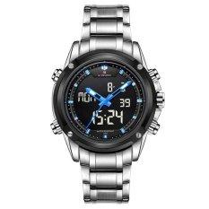 Autoleader NAVIFORCE 9050 Men Stainless Steel Double Movement Wristwatch Silver