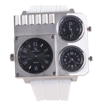 Autoleader V6 195B Men's Multiple Movement White Rubber Square Analog Wrist Watch