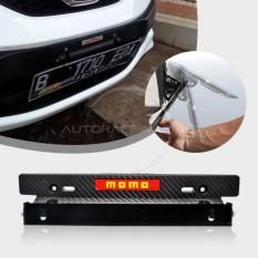 Autorace Dudukan/Tatakan Plat Nomor Carbon Mobil/ Breket/Braket/Bracket JDM MOMO - Black